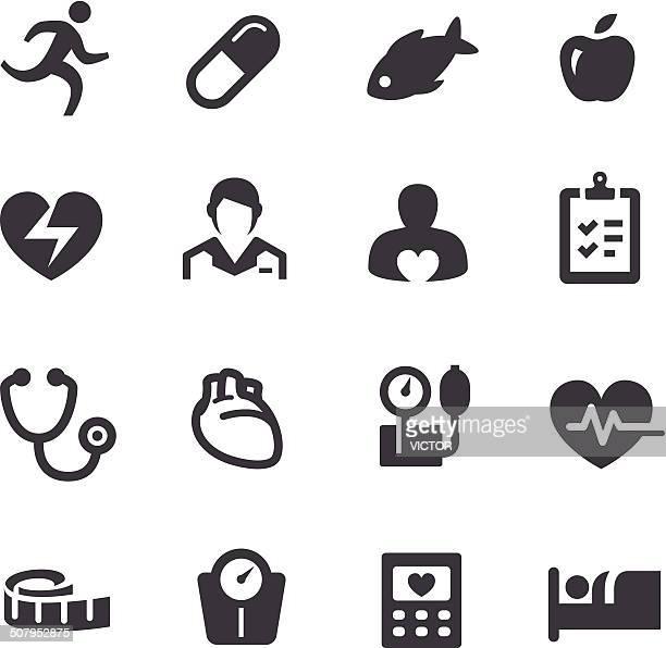 ilustraciones, imágenes clip art, dibujos animados e iconos de stock de de acme serie iconos de cardiología - cardiólogo
