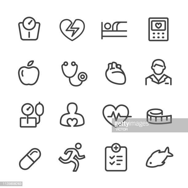 cardiology icons - line series - healthy eating stock illustrations