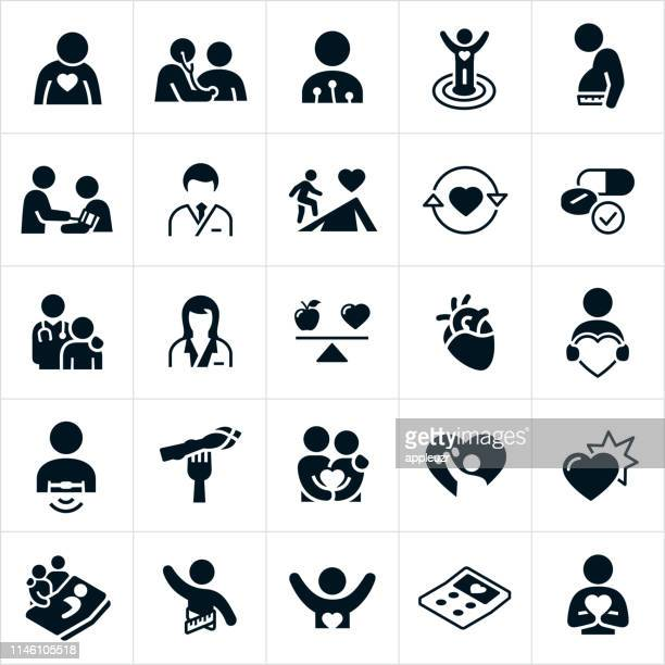 cardiology icons - patient stock illustrations