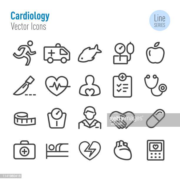 cardiology icons - vector line series - tape measure stock illustrations