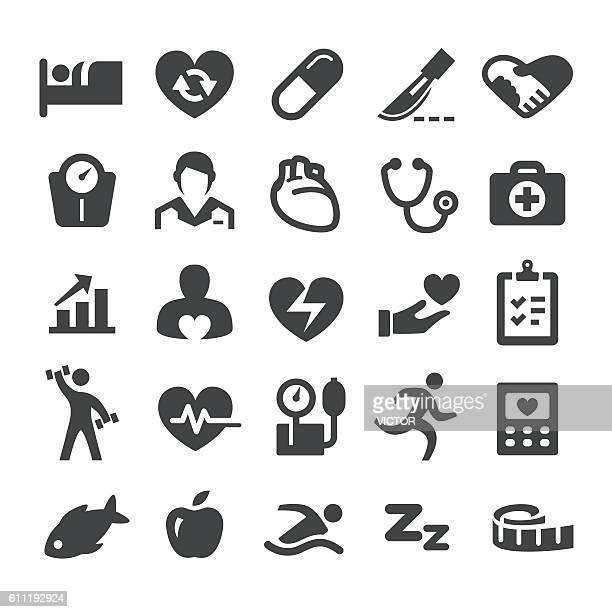 cardiology medicine icons - smart series - heart attack stock illustrations