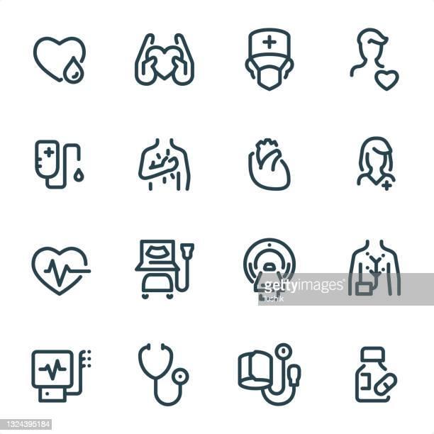 心臓病 - ピクセルパーフェクトユニカラーラインアイコン - mri装置点のイラスト素材/クリップアート素材/マンガ素材/アイコン素材
