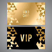 VIP cards. Black and golden design. Triangle decorative patterns