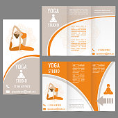 cards for Woman yoga studio , banner or brochure template ,