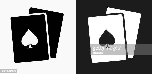 Cards Icon on Black and White Vector Backgrounds