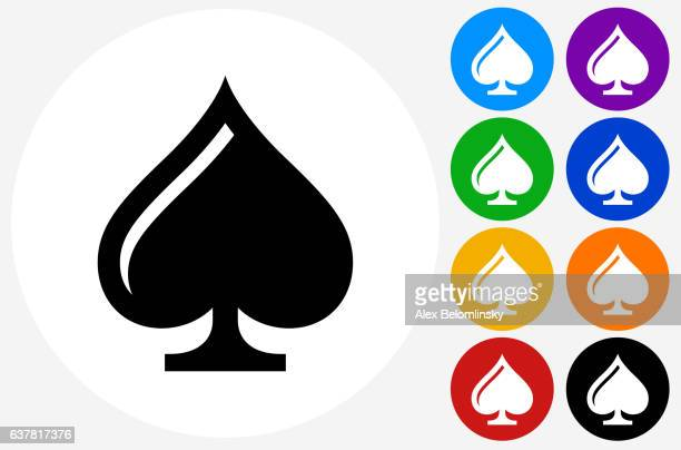 Cards Spades Icon on Flat Color Circle Buttons
