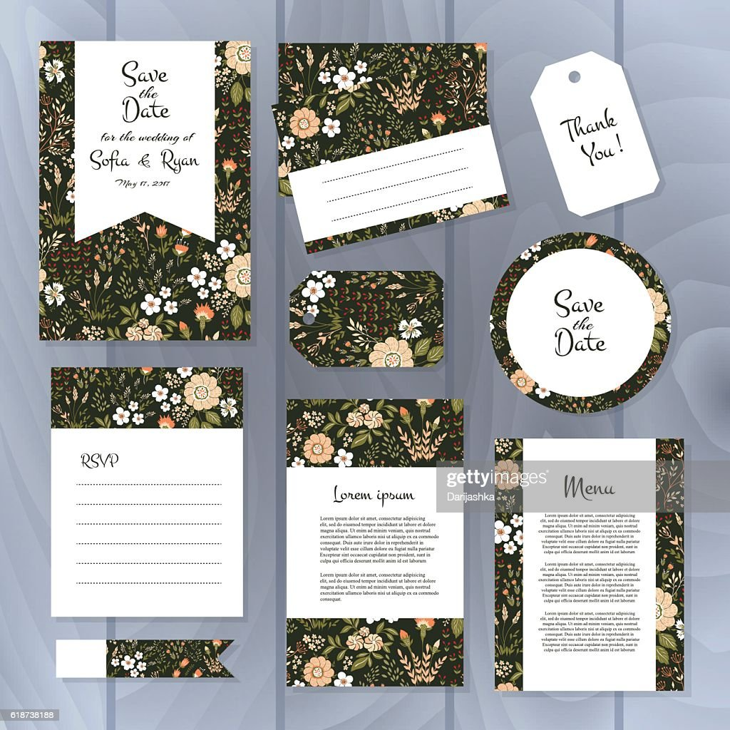 Cards template for wedding