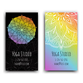 Cards template for yoga studio. Isolated vector editable pattern with front and back side of flyer.