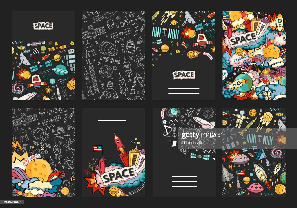Cards vector template of cosmos.