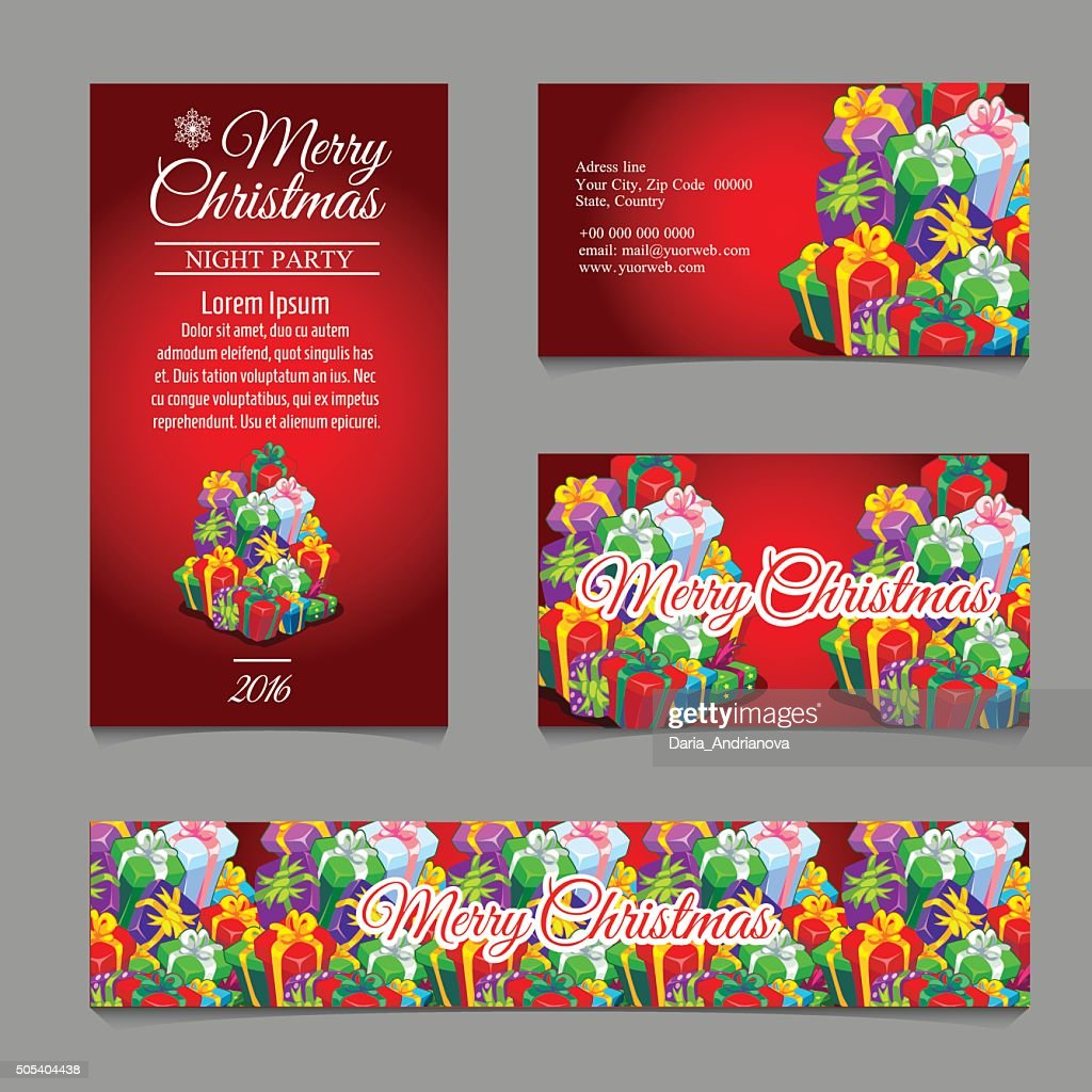 Cards with Christmas gift boxes for your business