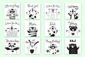 Cards with funny animals and exclamations. Tiger Pig Bear Fox Sheep Cat Pug Panda Rabbit for the design of childrens parties, rooms, stickers, posters, t-shirts