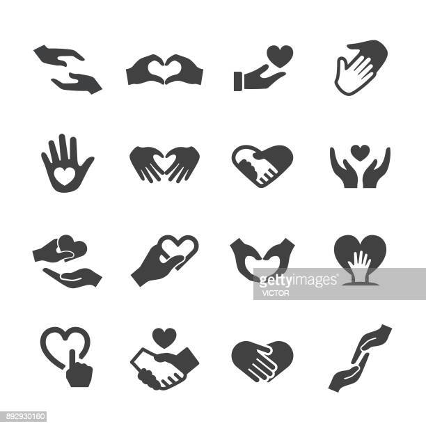 care and love gesture icons - acme series - hand stock illustrations