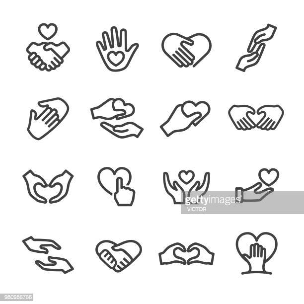 Care and Love Gesture Icons - Line Series