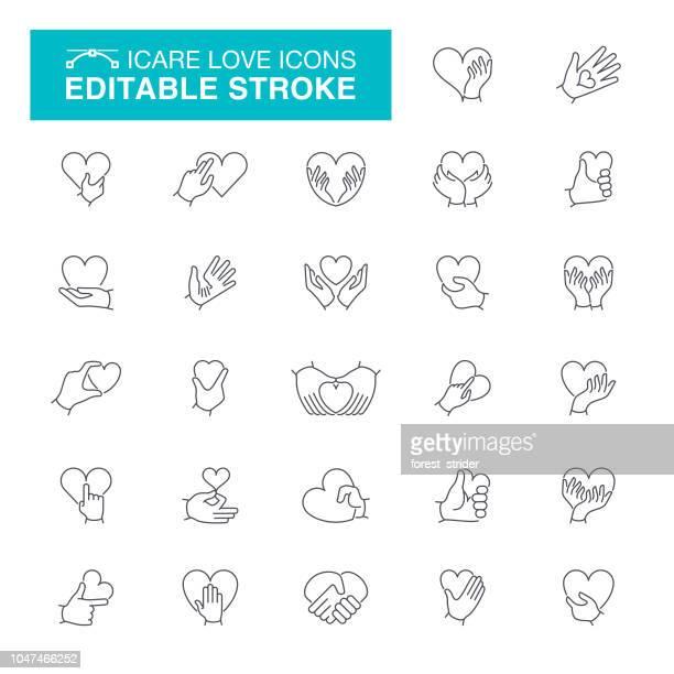 illustrations, cliparts, dessins animés et icônes de soins et amour mains avc modifiable icônes - maison de retraite