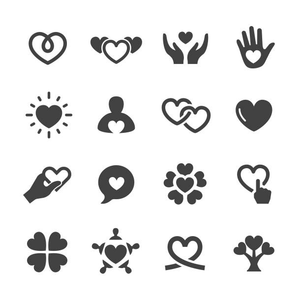 care and love icons - acme series - heart shape stock illustrations
