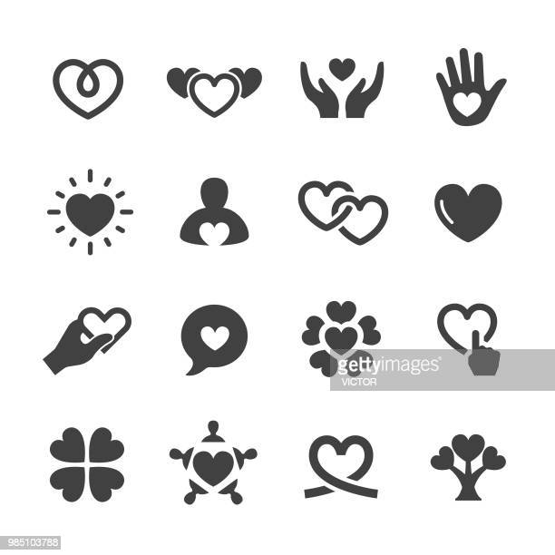 care and love icons - acme series - hand stock illustrations