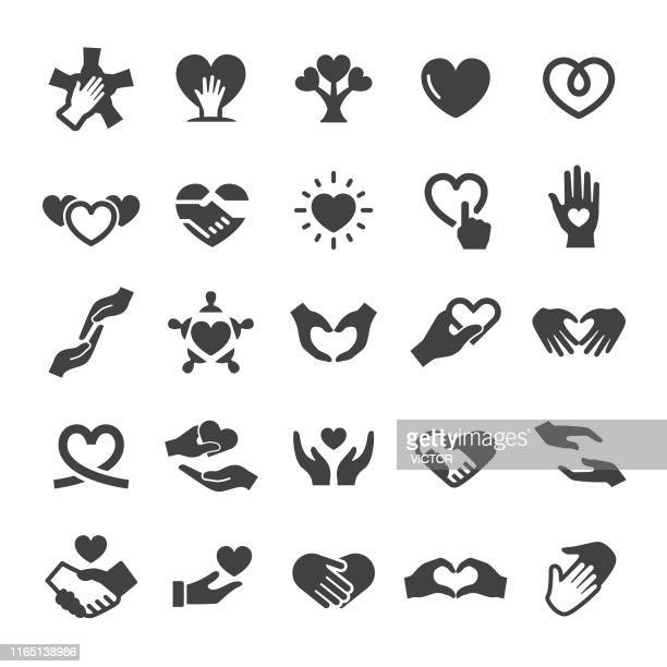 care and love icons - smart series - heart shape stock illustrations