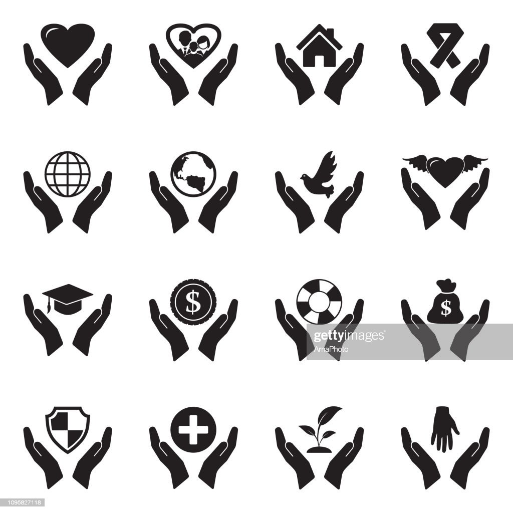 Care And Support Icons. Black Flat Design. Vector Illustration.