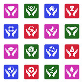 Care And Support Icons. White Flat Design In Square. Vector Illustration.