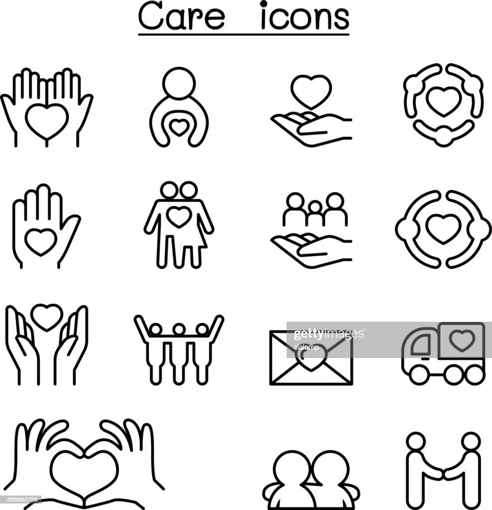 Care, Charity, Kindness icon set in thin line style