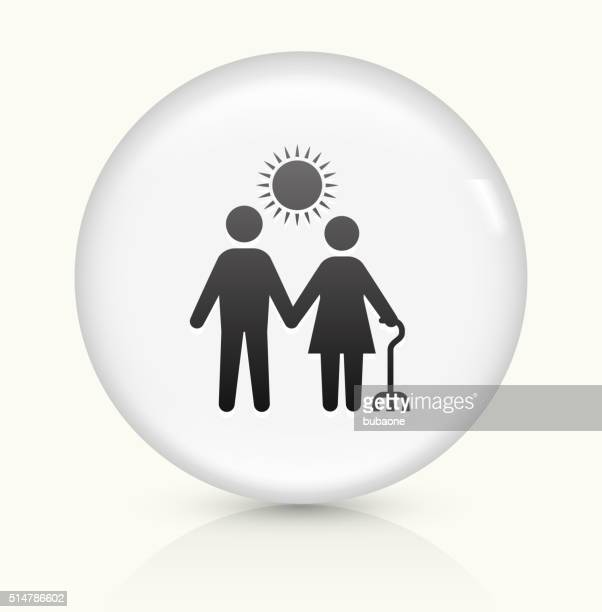 care giver icon on white round vector button - sociology stock illustrations, clip art, cartoons, & icons