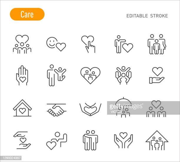 ケアアイコン - ラインシリーズ - 編集可能ストローク - 家族点のイラスト素材/クリップアート素材/マンガ素材/アイコン素材