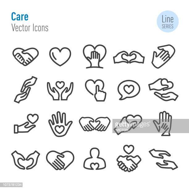 illustrations, cliparts, dessins animés et icônes de icônes de soins - vecteur ligne série - maison de retraite