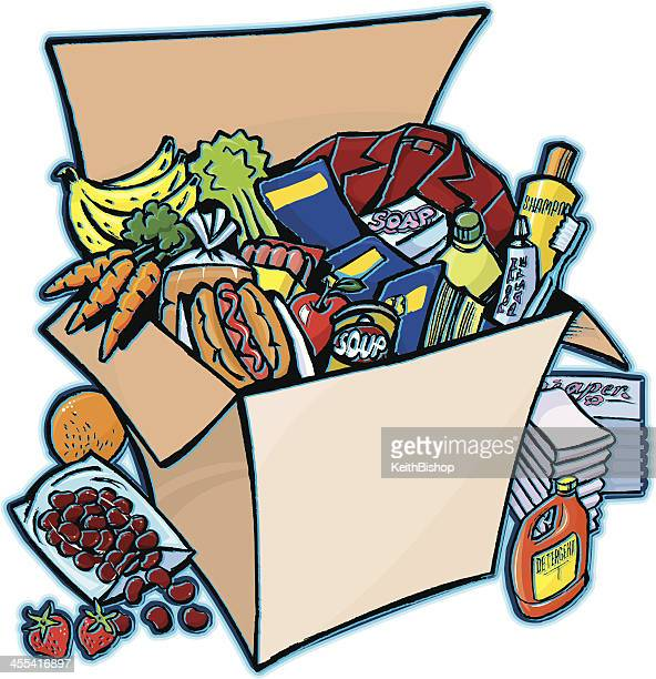 care package - box full of supplies - laundry detergent stock illustrations, clip art, cartoons, & icons