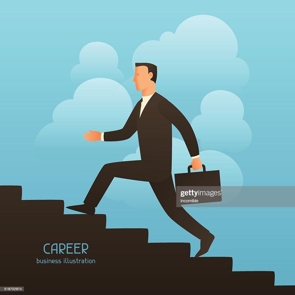 Career business conceptual illustration with businessman going upstairs. Image for