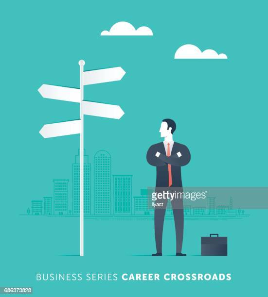 a career crossroads - road intersection stock illustrations