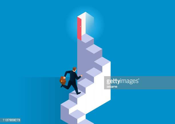 career development, the staircase leading to the door to success - entering stock illustrations