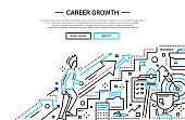 Career Growth line flat design website banner