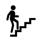 Career icon vector, man going up by stairs.
