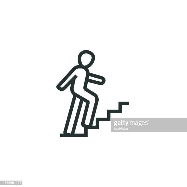 illustrazioni stock, clip art, cartoni animati e icone di tendenza di icona di career ladder line - spostarsi verso l'alto