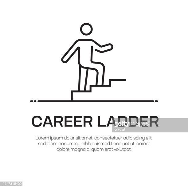 career ladder vector line icon - simple thin line icon, premium quality design element - steps stock illustrations