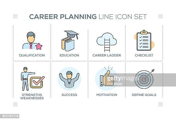 Career Planning keywords with line icons