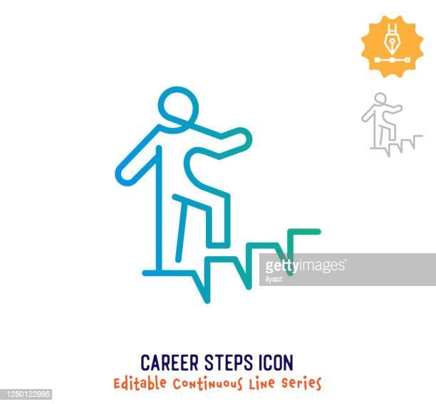 illustrazioni stock, clip art, cartoni animati e icone di tendenza di icona modificabile linea continua passaggi carriera - previsione