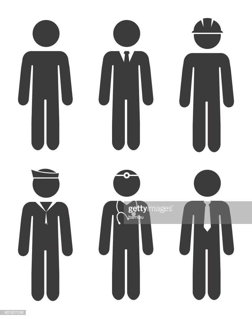 Career Stick Figures Icon Set : stock illustration