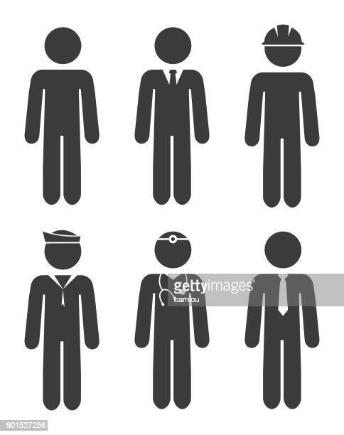 Career Stick Figures Icon Set