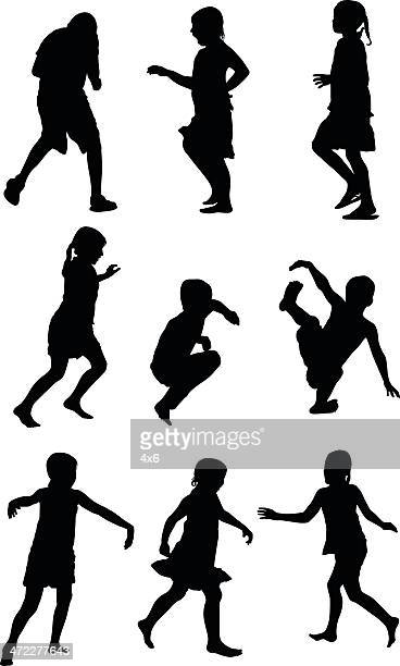 Carefree children running and playing