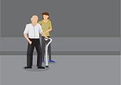 Caregiver Helping Old Man Cross the Road Cartoon Vector Illustration