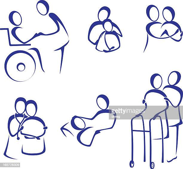 caregivers - carer stock illustrations, clip art, cartoons, & icons