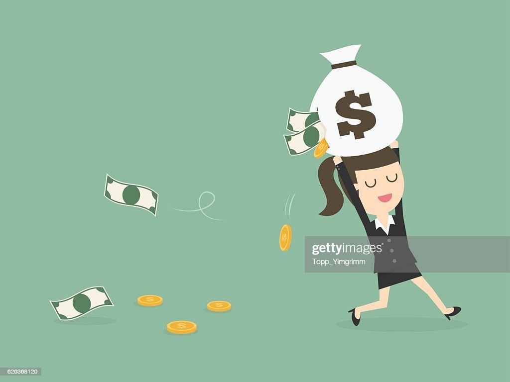 Careless Businesswoman Carrying a Torn Money Bag.