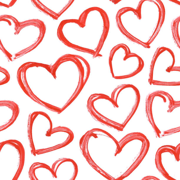 carelessly hand painted hearts by red acrylic paint - seamless vector love pattern background with visible imperfections full of uneven stokes and thick application of paint - heart shape stock illustrations