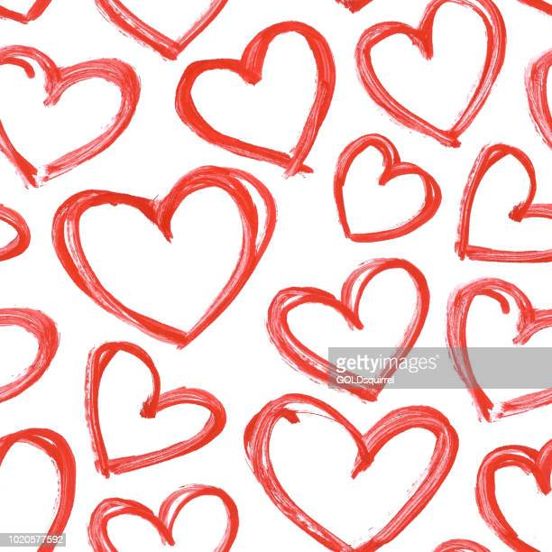 ilustrações de stock, clip art, desenhos animados e ícones de carelessly hand painted hearts by red acrylic paint - seamless vector love pattern background with visible imperfections full of uneven stokes and thick application of paint - valentines day