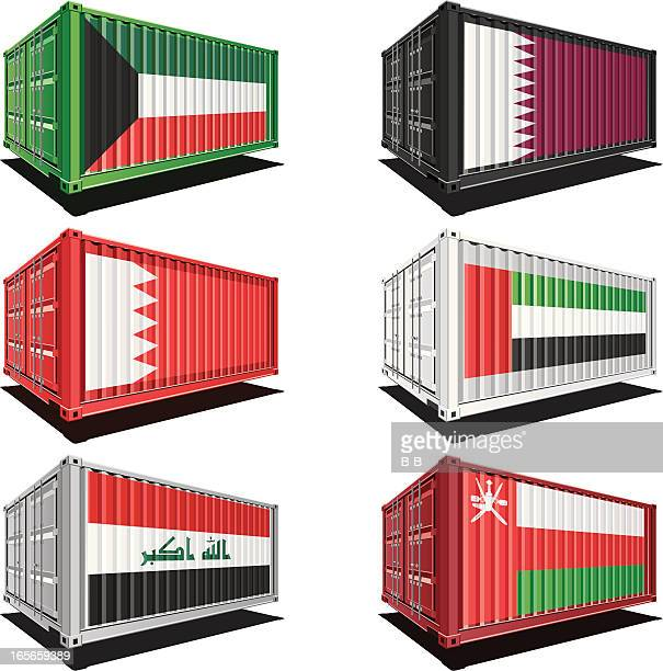 cargo containers with flag designs - qatar stock illustrations, clip art, cartoons, & icons