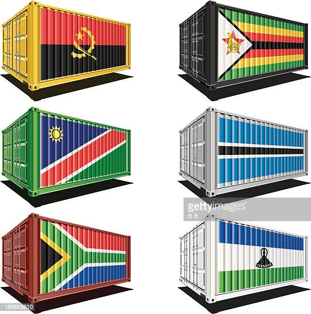 cargo containers with flag designs - zimbabwe stock illustrations, clip art, cartoons, & icons