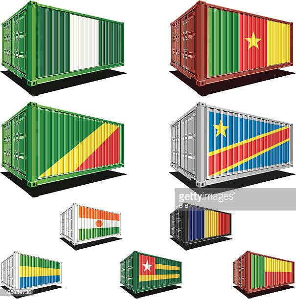 Cargo containers with flag designs