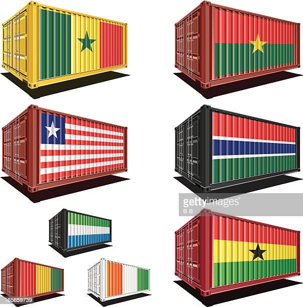 cargo containers with flag designs - ghana stock illustrations, clip art, cartoons, & icons