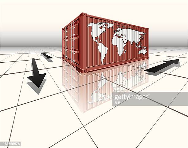 cargo containers-logistic business - rail freight stock illustrations, clip art, cartoons, & icons